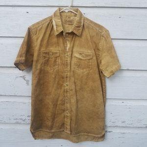 FWRD Mustard Yellow Acid Wash Denim Shirt